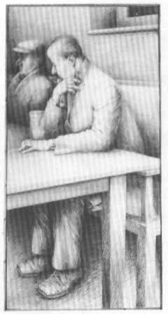 Jim Savage, Man at a Table, pencil on paper, 172 x 87 cm