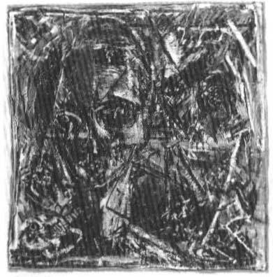 Richard Anglim, Mirror Head, oil, cotton & board, 155 x 150 cm