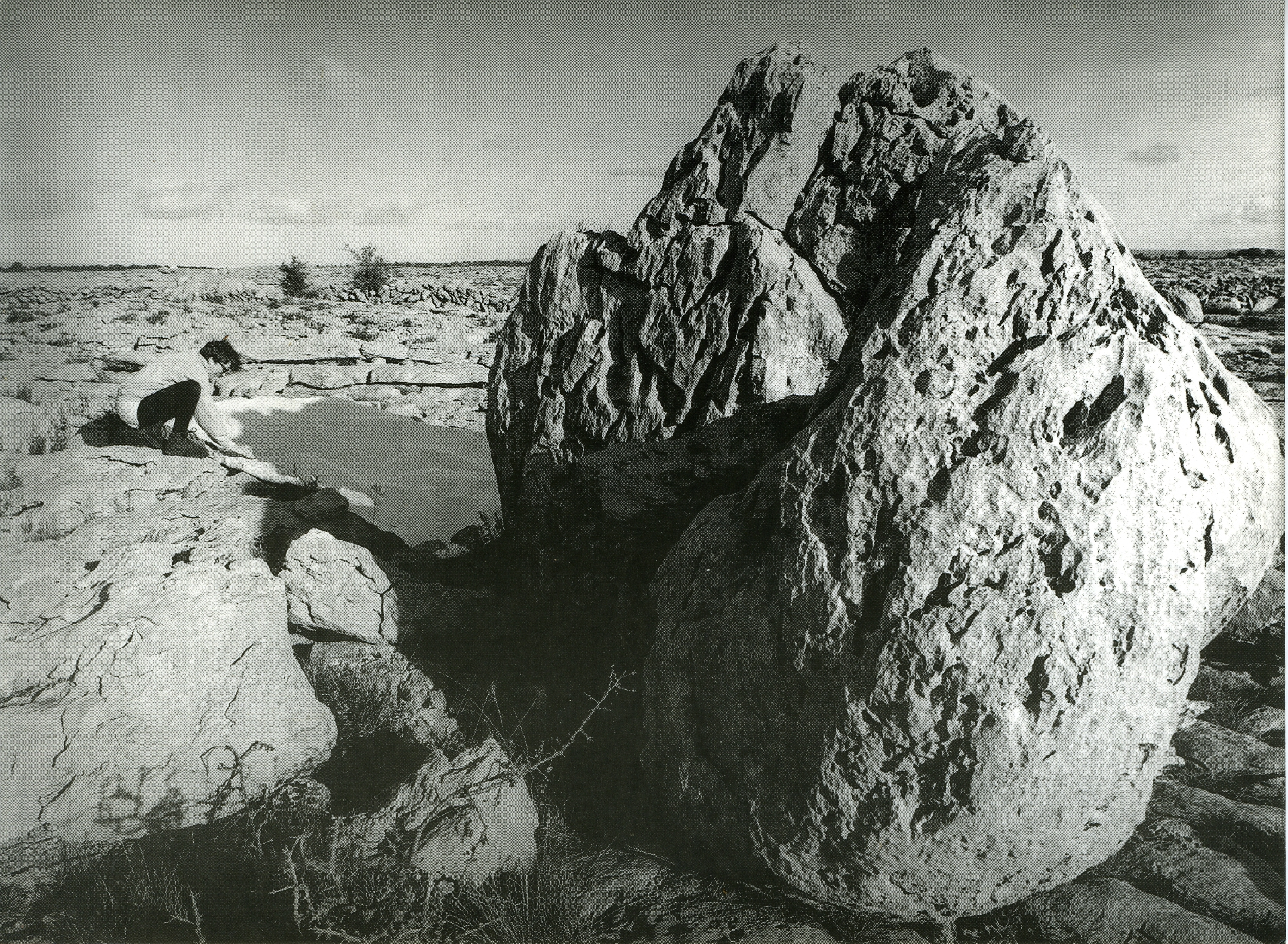 Deirdre O'Mahony, Mapping the shadowline of erratic boulders, the Burren County Clare, 1995. Photograph Veronica Nicholson.
