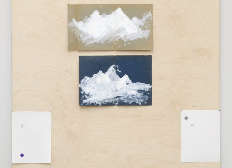 Yane Calovski, Closet (detail of Panel 1) Drawing 1:1 Mountain, 2014, gouache on archival folder, 27,2 x 50 cm; Drawing 1:2 Mountain, 2014, gouache on archival folder, 29,4 x 42,7 cm; Drawing 1:3 Nine Principles of Open Form, 2018, ink and gouache on mineral paper, 22,9 x 30,5 cm; Drawing 1:4 Nine Principles of Open Form, 2018, ink and gouache on mineral paper, 22,9 x 30,5 cm